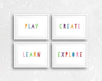 Playroom Decor, Playroom Wall Art, Playroom Prints, Play, Create, Learn, Explore, Playroom Artwork, Kids Room Wall Art, Nursery Decor