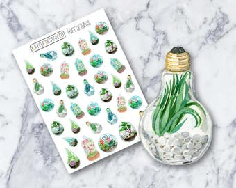 Terrariums / Planner Stickers / Hand Drawn / Doodle / Tracking /  Fits Erin Condren Vertical & MAMBI / Filofax / Kikki K / Scrapbook