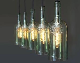 "Vintage bottle lamp pendant lamp ""Lampada cinque"""