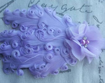Lavender Feather Headband Rhinestone & Pearl Flower Wedding/Pageant/Photo Prop