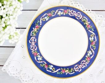 Vintage Spode Ribbons & Roses Cake Plate | Ribbons and Roses Trivet, Spode Wall Plate, Decorative Trivet, Blue Cake Plate