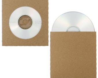10 PACK - Recycled CD / DVD Sleeves Natural Kraft Chipboard - Blank, Decorate Your Own! Choose With or Without Center Hole
