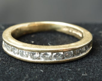 Beautiful 12 Stone Diamond Channel Set Band ~ .60 ct ~ 14k Yellow Gold ~ Size 5