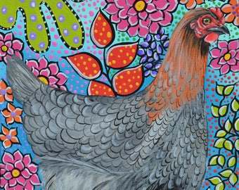 "SIlver Laced Hen  Original Acrylic Painting on Stretched Canvas 12"" x 12"" - Silver Henny"