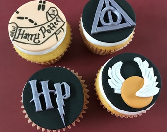 12 Harry Potter Inspired Cupcake Toppers-Fondant