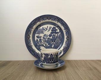 Churchill England Blue Willow Mug Saucers & Plate set - In Box