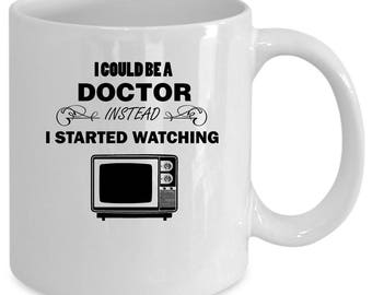 Television white coffee mug. Funny Television gift