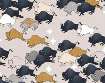 Buffalo Baby Blanket, Llama Buffalo Stampede Baby Blanket, Swiss Cross Buffalo Blanket, Neutral Buffalo Nursery