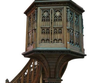 Antique Religious French Gothic Pulpit MAGNIFICENT Model 19th Century in Oak #7959
