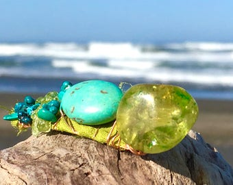 Gemstone boho hair clip, green sari silk hair jewelry, turquoise blue green jeweled stone barrette, green quartz turquoise wire wrap