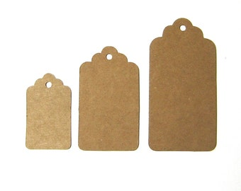 Kraft brown gift tags rectangle scalloped tags 3 sizes quantities 30 50 100 for wedding bomboniere party decoration gift wrapping favours