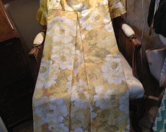 California 70's long empire line dress. 36 bustx53 length. Lined. Sheer