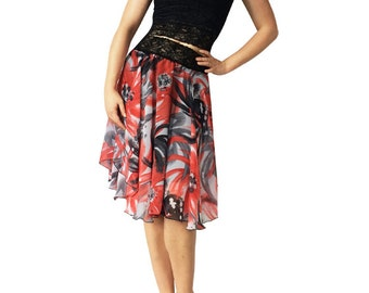Red & Gray Chiffon Circle Tango Skirt