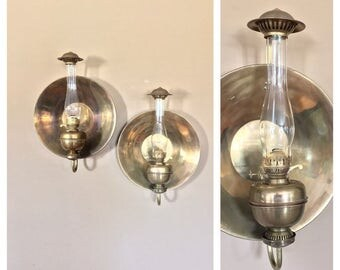 Brass Wall Sconce Lanterns/Pair Wall Sconce/ Brass Sconce/Candle Wall Sconce/Rustic Wall Wall Sconce/Hurricane Wall Sconces/Railroad Lantern