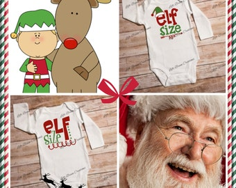 Elf Size Bodysuits, Christmas bodysuits, Christmas baby outfit, toddler shirts, baby gifts