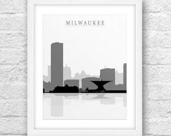 Milwaukee City, Milwaukee Print, Milwaukee Art, Milwaukee Skyline, Wall Art, Minimal Design, Minimalist Art, Milwaukee Printable