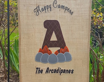 Happy Camper Campsite Burlap Garden Flag Campsite Flag Camping Flag Burlap Flag Camping Firepit Camp Fire