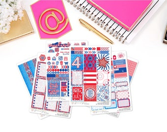 Happy 4th of July Full Weekly Planner Kit, Independence Day Planner Stickers, July Stickers - for use in Erin Condren , Happy Planner