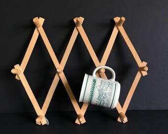 Vintage accordion wood rack, natural accordion rack, medium  peg rack, hat and coat hooks, expandable rack, coat rack, mug rack