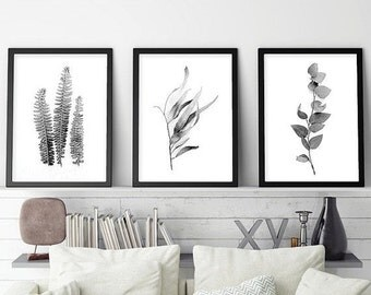 Set of 3 Prints,  Print Set, Botanical Print Set, Botanical Prints, 3 Botanical Prints,Black White, Botanical Art Set, Scandinavian Prints,