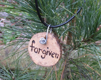 Forgiven Necklace, Inspirational Necklace, Rustic Wood Slice Necklace, Rustic Necklace, Wood Necklace, Forgiven Jewelry, Forgiven Pendant