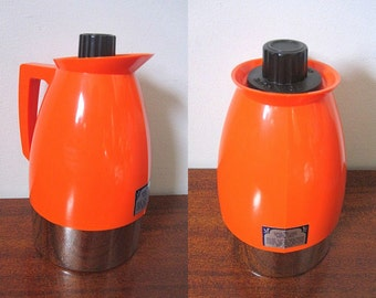 Vintage 60s Bright Orange Thermal Mini Pitcher with Chrome Base