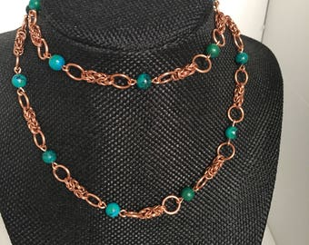 Copper and Australian Jasper Chainmaille Necklace