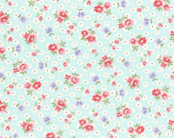 1/2 yard Lecien Japan Old New 30's Spring 2017 Collection | Red Floral with White Daisy on Blue| # 31524-70