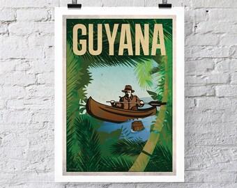 Vintage Travel Print: Guyana Wall Art poster