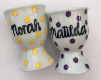 Personalised Egg Cup - Ceramic Polka Dot Egg Cup - Easter Gift - Personalised Easter Gift