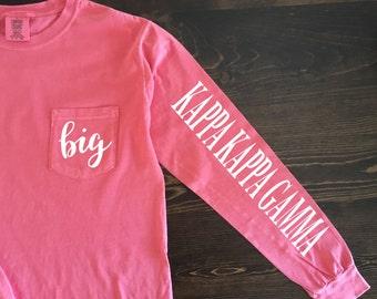 Big Little Sorority Family Comfort Colors Pocket Long Sleeve Shirt