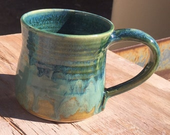 Ceramic, pottery mug, 8 oz, small mug, blue mug, green mug, orange mug
