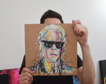 SALE: Karl Lagerfeld Portrait Painting Study - Acrylic painting of Chanel Fashion Designer on 6mm panel board