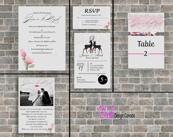 Digital wedding invitation, RSVP, thank yo, table card, stag and doe layout.