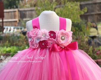 flower girl tutu dress. Pink tutu dress. Pageant tutu. Very full and poofy. More colors available.