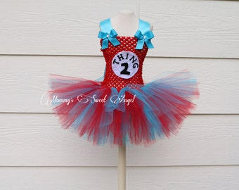 thing 1, thing 2 tutu dress. Twin 1 Twin 2 tutu dress. Comes with matching bow. Birthday tutu dress. Twin theme party. Red and blue dress
