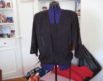 1980's Polyester top/ Black 1980's top/Sheer