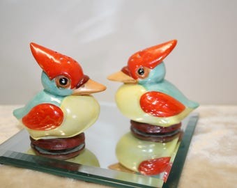 Vintage whimsy: pair of Kookaburra birds salt and pepper shakers; made in Germany; colorful birds; S & P treasures