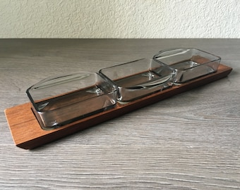 Vintage Danish Modern Teak & Glass Serving Tray