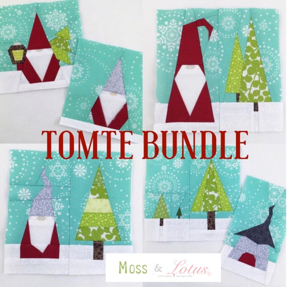 "TOMTE BUNDLE // Nes Halvor Peder + House&Tree + FREE Tiny Tomte 2.5"" mini charm block // Foundational Paper Piecing // pdf Download //"