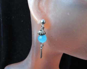 Vintage Pair Of Silvertone Blue Glass Beaded Pierced Dangle Earrings
