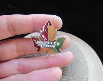 Vintage Enameled Niagara Falls Leaf Pin