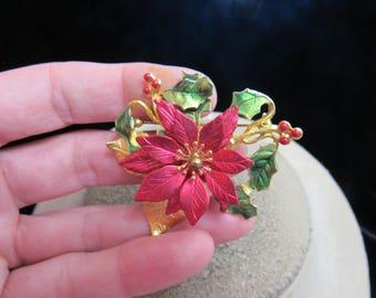 Vintage Signed KC Red & Green Enameled Floral Pin