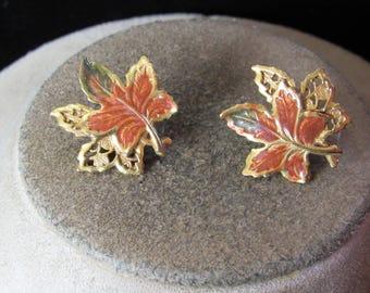 Vintage Pair Of Signed KC Green & Brown Enameled Double Leaf Pierced Earrings
