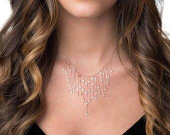 Crystal Wedding Necklace | Crystal Bridesmaid Necklace | Cubic Zirconia Necklace | Crystal Necklace | Bridesmaid Necklace | Wedding Necklace