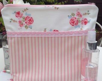 Pretty in pink makeup bag, pink makeup bag, pink print make up bag, cosmetic bag, toiletries bag, toiletry bag, makeup storage,