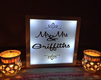 Personalised Wedding Top table Tabletop toptable topper Mr & Mrs sign Freestanding Top Table Wedding Light Box Party Gift