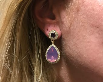 Lila Crystal Earrings, Gold filled earring, lila earring, crystal earring, gift for her