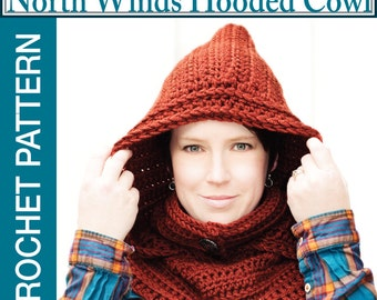 Crochet Hood Pattern, Hooded Cowl Pattern, Crochet Pattern, Hooded Scarf Pattern, Crochet Hood Pattern, North Winds Hooded Cowl Crochet Patt