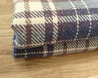 Scottish tweed fabric remnant, brown yellow grey checked tweed wool fabric, vintage fabric remnant Scottish tweed in grey yellow and brown